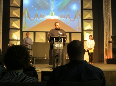 Pastor Ryan Silwoski opened the evening in prayer.