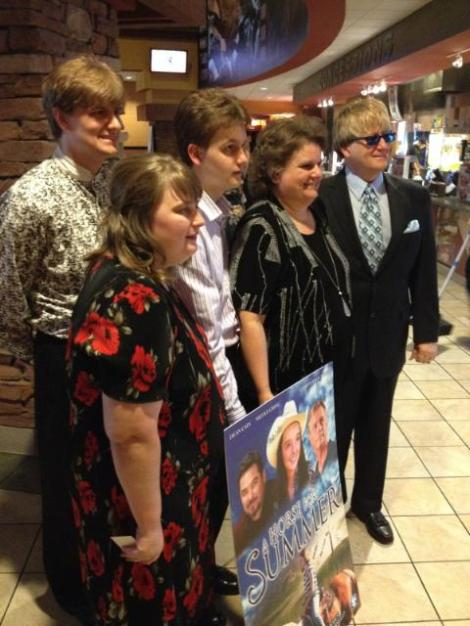 Danny with his family at The Sparrows premiere