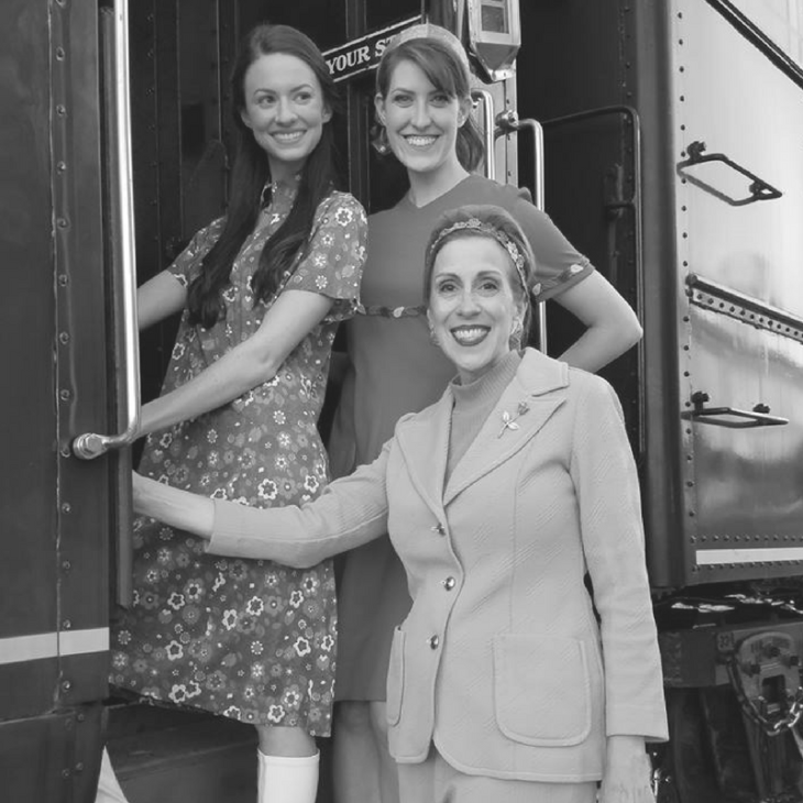 Actresses Bethany Davenport, Rachel Schrey, and Mimi Sagadin on set filming Summer of '67 movie