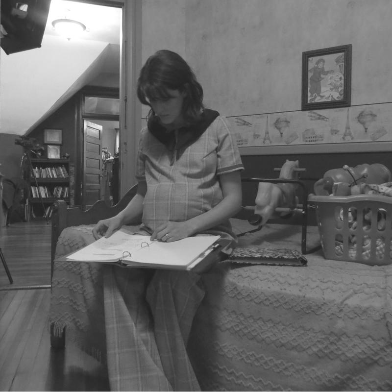 Rachel Schrey prepares for an emotional scene.
