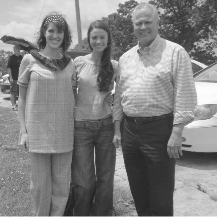 Senator Mike Wilson with actresses Rachel Schrey and Bethany Davenport on set of Summer of '67 movie