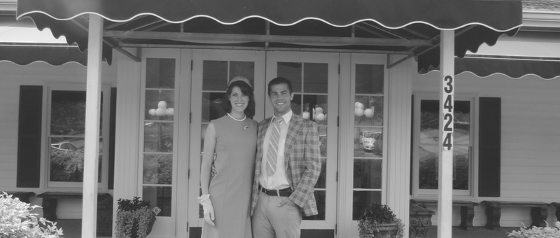 Actors Rachel Schrey and Cameron Gilliam pose between takes in front of The Catfish House in Springfield Tennessee