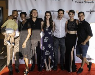 Lead actors Jerrold Edwards, Sharonne Lanier, Sam Brooks, Bethany Davenport, Christopher Dalton, Rachel Schrey, Cameron Gilliam pose on the red carpet at the Summer of '67 premiere.