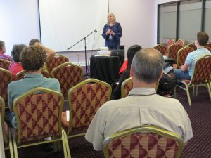 Sharon Wilharm teaching Marketing for Movies at Great Lakes Christian Film Festival