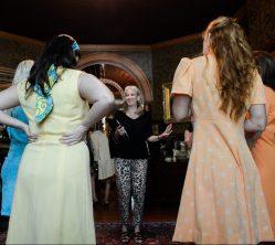Sharon talking to bridal shower girls