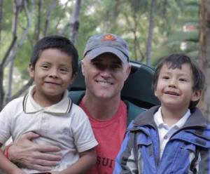 Filmmaker Stephen Spivey with street kids